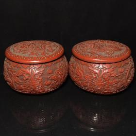 漆器雕刻龙纹围棋罐