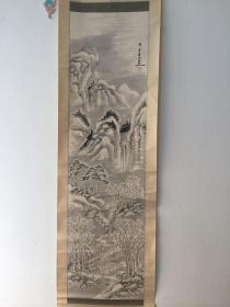 雪景图-保真 保手绘 保老到清末时期  纸本纸裱 实木轴头 画芯尺寸 112*30厘米