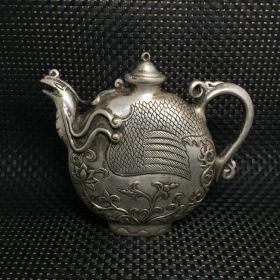 古玩老物件老银飞凤凰扁茶壶精工打造银壶飞黄腾达收藏银壶摆件