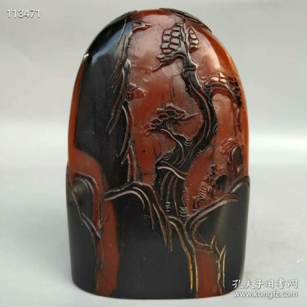 旧藏乌鸦皮红田黄石透料手工雕刻《松山赏景》书房印章尺寸如图重960克