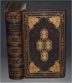 1830 年The Works of Alexander Pope 《蒲柏诗全集》全摩洛哥羊皮满堂烫金精装古董书 18张原品钢版画插图 品佳