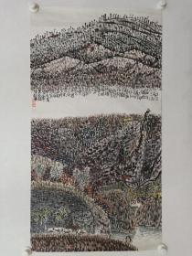 保真书画,当代山水画名家,谢定超山水画一幅,尺寸99.5× 54.5cm纸本托片