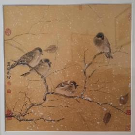雷澄宇中国画《金丝雀》新中式家居挂画实木画框装
