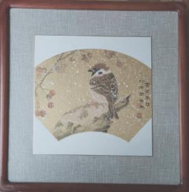 雷澄宇中国画《樱桃小鸟 》新中式家居挂画实木画框
