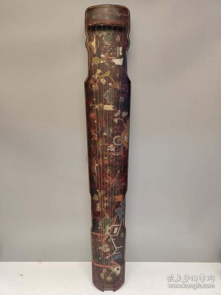 收藏木胎漆器古琴 手工生漆彩繪制作夜宴圖漆器古琴一把長122厘米