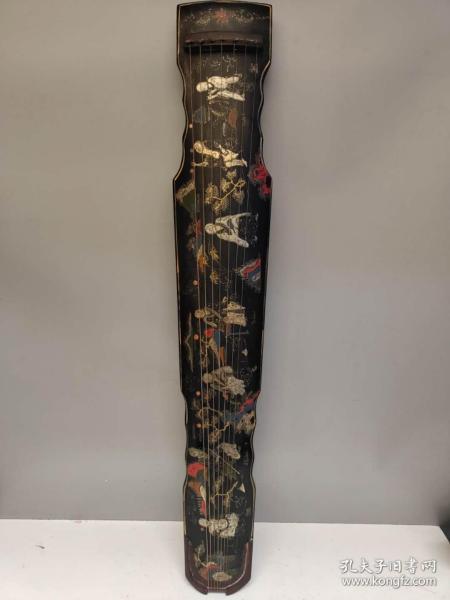 收藏木胎漆器古琴漆彩繪高仕論道漆器古琴一把長122厘米