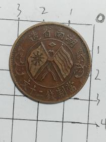 湖南省造双旗币当制钱二十文,传世美品①