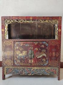 旧藏乡下收来的老木胎漆器书柜摆件  纯手工彩绘制作《财源滚滚》老书柜招财镇宅摆件 桌面长76.5厘米宽25厘米高82厘米