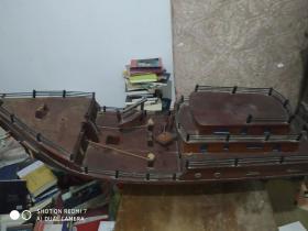 早期手工制作实木大船模(比例好十分气派)长1米2左右高约35公分  整体完整   展览馆或办公室。