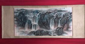 书画9016有款山水画,约8平尺,卷轴