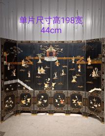 楠木古典漆器鑲嵌玉石侍女人物六扇屏風一套,人物純手工雕刻,手工繪畫,人物栩栩如生,漂亮大氣精致,品相完好,尺寸見圖