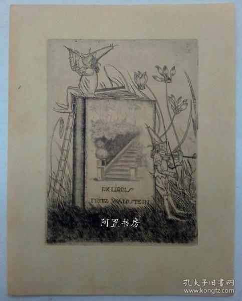 奧地利早期酸刻銅版畫藏書票小矮人與書籍