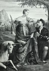 1876年感光制版铜版画《圣贾斯蒂娜和独角兽》—意大利文艺复兴画家莫雷托·达·布雷西亚(Moretto da Brescia,c1498-1554年)作品 45.2*31.4厘米