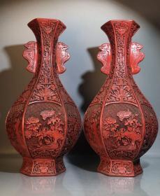 收藏剔紅漆器手工浮雕頸口瓶一對高36厘米