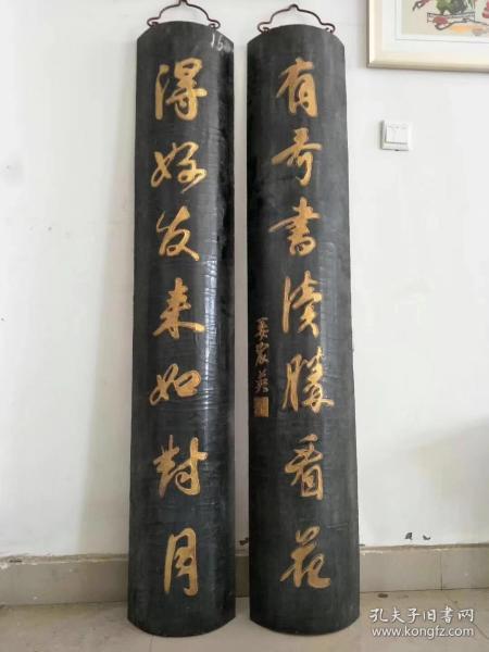 杉木描金包柱对联,保存完好品相如图