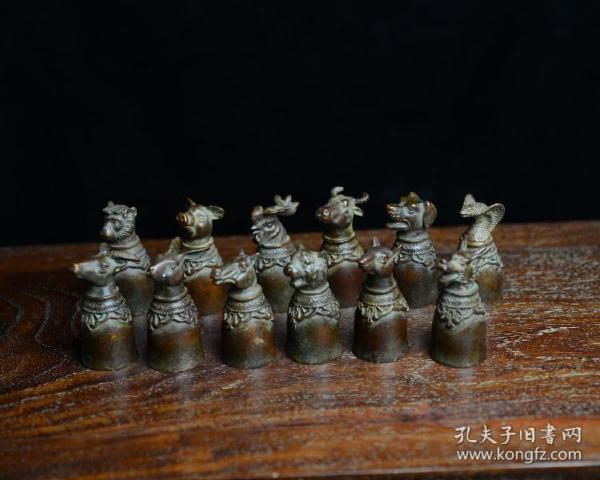 古玩古董铜器老紫铜收藏品红铜包浆艺术品十二生肖摆件