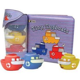小拖船 英文原版 Float Along Tiny Tugboats 洗澡书 附拖船玩具3个-