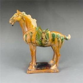 黃綠釉唐三彩戰馬