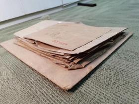 上海图书馆老馆长顾廷龙信封一批22张,大小尺寸不一,品相如图,最大张尺寸44/32公分,最小张尺寸8.5/31公分