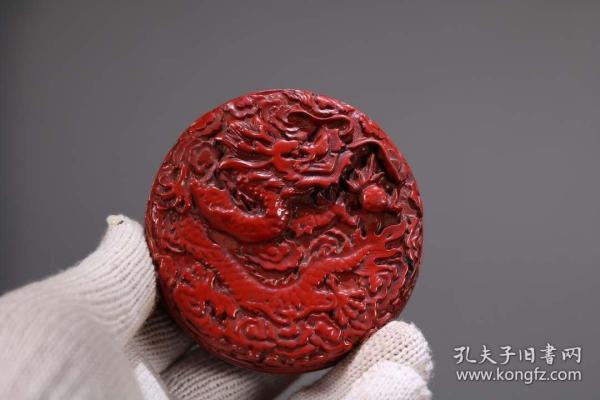 收藏剔紅漆器首飾盒直徑8厘米
