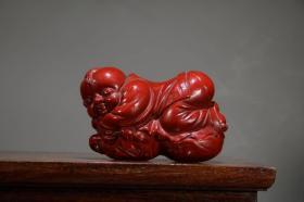 收藏剔紅漆器福祿童子擺件 長12厘米