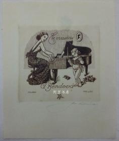 捷克早期雕刻銅版畫音樂藏書票彈琴女子與小天使