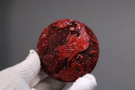 收藏剔紅漆器首飾盒直徑7.5厘米