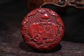 剔紅漆器太平吉祥首飾盒直徑7.5 厘米