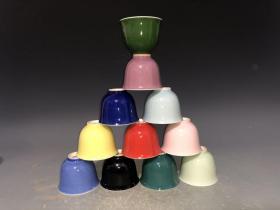 1962年上海博物馆落款 金钟茶杯 11色【一套11个】