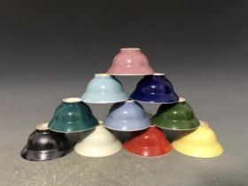 1962年上海博物馆落款  折腰杯功夫茶杯  【一套10个】