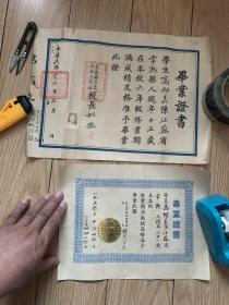 江苏常熟人的民国【常熟县立虞中镇小学校】,毕业证书2张