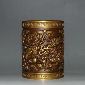 黃銅純銅龍筆筒 8×8×10×796克   ——10月21日
