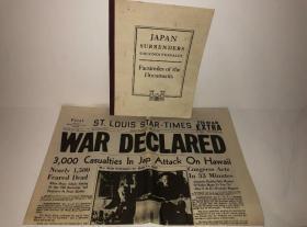 1941年12月8日,珍珠港事件后,美国对日宣战报刊,美国档案局出版二战日本投降书,内含裕仁天皇投降诏书,众多战胜国代表签名,罕见版本