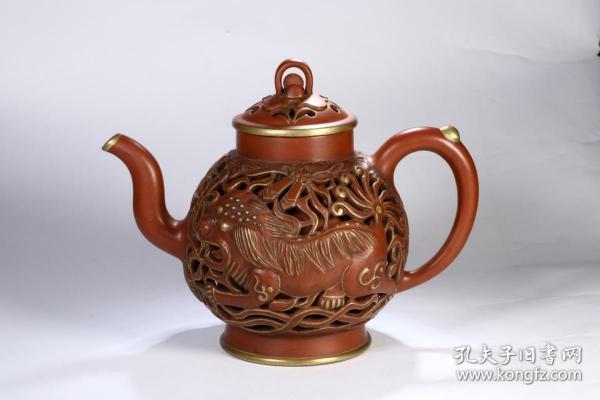 舊藏 描金紫砂壺