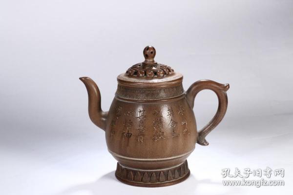 舊藏 詩文紫砂壺