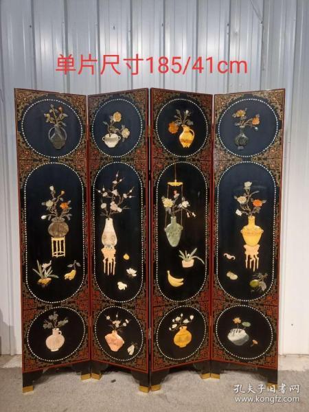 楠木古典漆器鑲嵌玉石花瓶四扇屏風一套,人物純手工雕刻,手工繪畫,漂亮大氣精致,品相完好,尺寸見圖