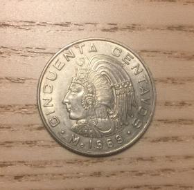 墨西哥1969年50分印第安人頭像(鄙視刷屏賣假幣的)