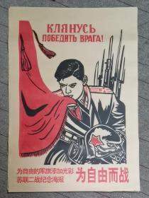 宣傳畫 蘇聯二戰紀念海報為自由而戰 印刷品