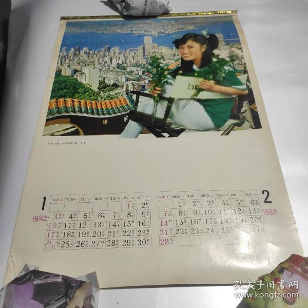 1982年,香港明星掛歷雙月六張全   米雪,甄珍,甄妮,張艾嘉,井莉,汪明荃