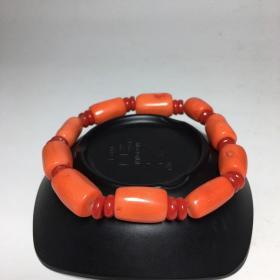 珊瑚手串  尺寸:珠子直径约:10mm,重量:41g