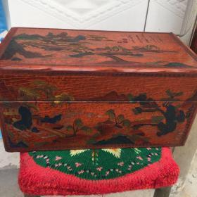 老物件,漆畫盒子