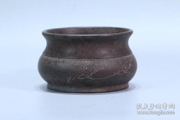 舊藏 紫砂詩文水洗