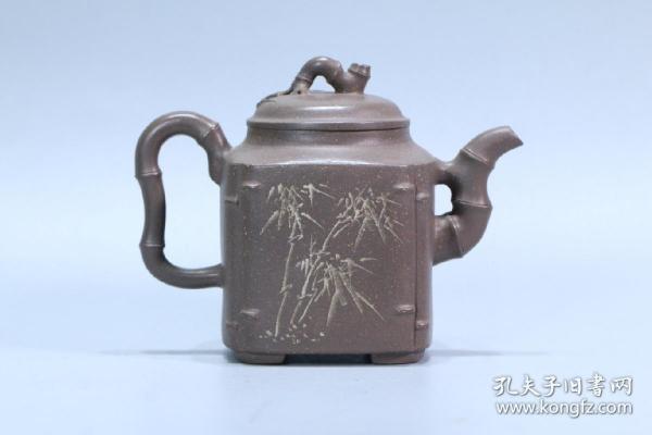 舊藏、曹婉芬款竹紋紫砂壺