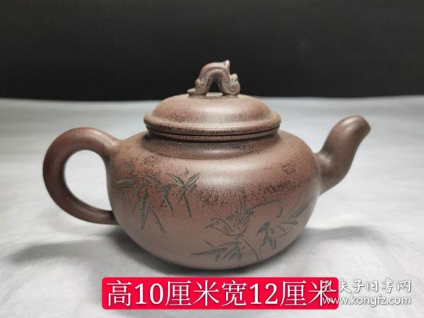 舊藏老紫砂壺,包漿厚重,完整全品,成色如圖。