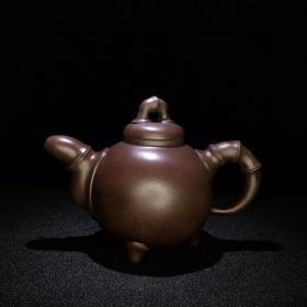 清中期精品珍藏紫砂壺竹趣