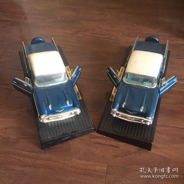 老車模 經典款 雪弗蘭 CHEVROLET BEL AIR(1957)款 一對 前車蓋 左右車門可打開 前車輪可左右轉動