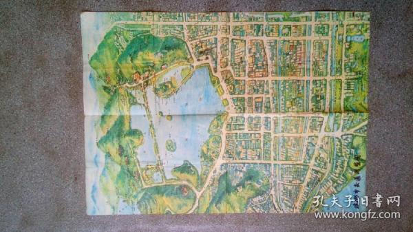 舊地圖-杭州市交通游覽圖(1985年1版10月2印)4開8品