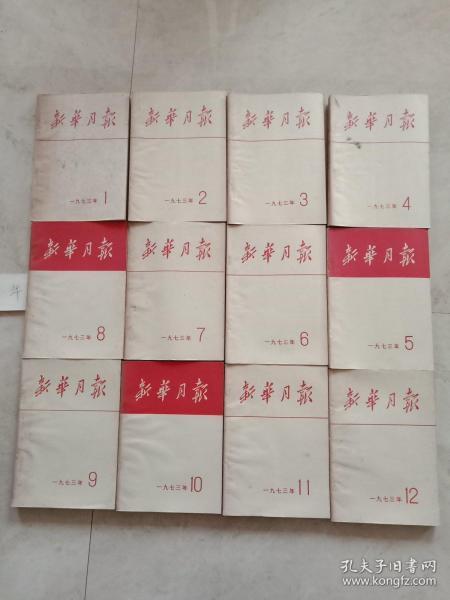 新華月報(1973全年,第1-12期,共12本)