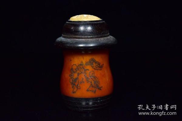 牛骨鑲木頭畫工蛐蛐罐,重77克,120