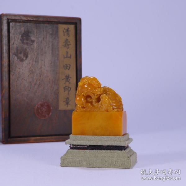 舊藏:田黃瑞獸印 尺寸:長5cm .寬3.1cm.高6.2cm. 重173.3g